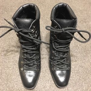 Calvin Klein Evee Black Lace Up Booties Size 8.5